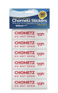 "pack of 12 stickers that say ""Chometz -- do not open"""